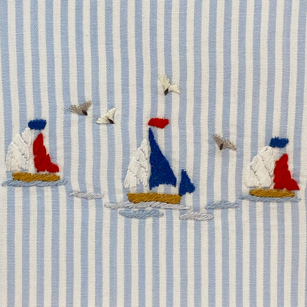 sailboat detail on tissue box cover