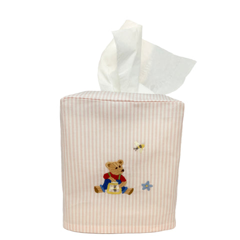 pink stripe tissue box cover with teddy