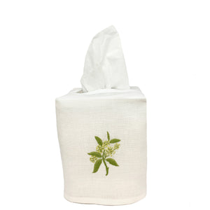 hand embroidered linen cotton tissue box cover