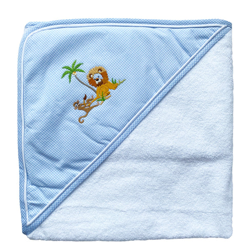 baby hooded towel with lion and monkey