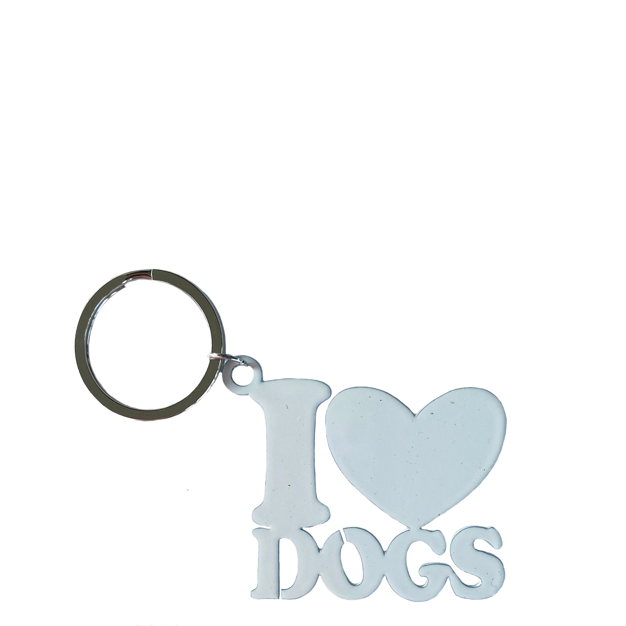 i love dog key ring white