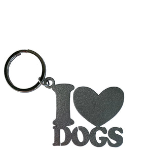 i love dogs key ring silver