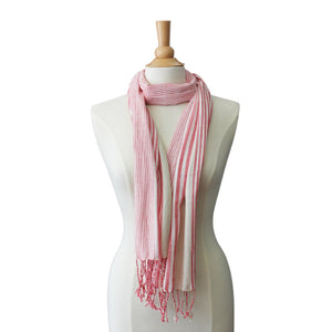 soft red striped scarf