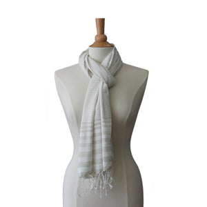 soft grey striped scarf