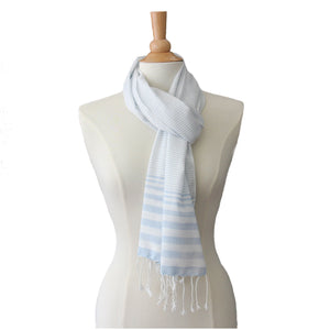 soft blue striped cotton scarf