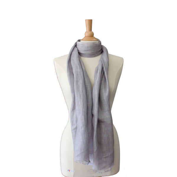 pure linen scarf - light grey