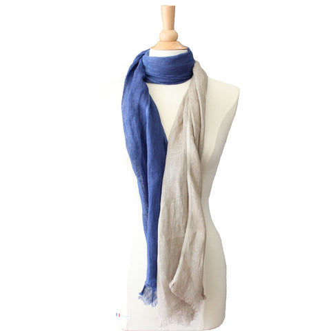 pure linen scarf - jute and blue