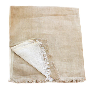 jute and white linen scarf