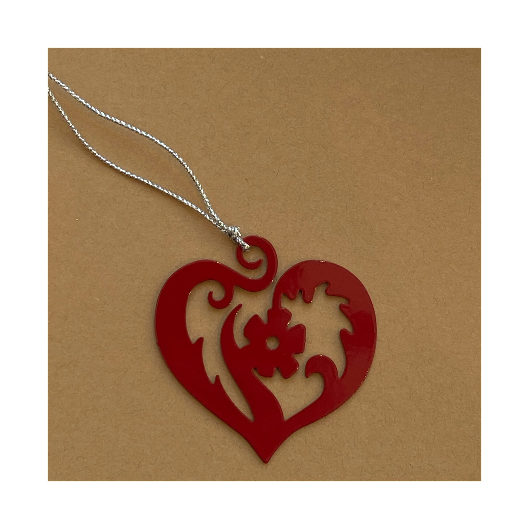 red heart christmas tree ornament