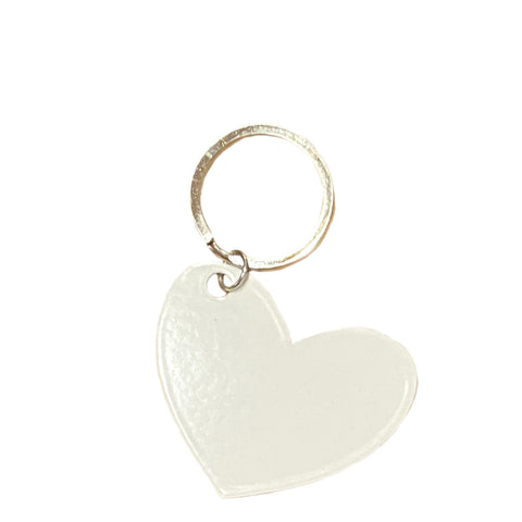 white heart keyring