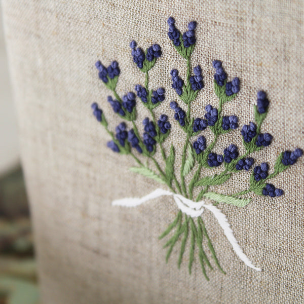 hand embroidered linen cotton tissue box cover detail