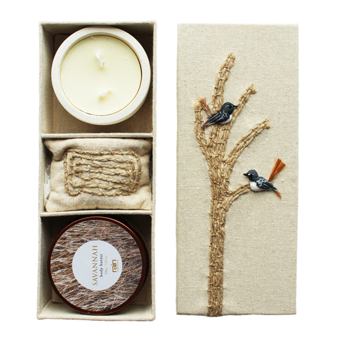 uplifting gift box with candle, moisturizing body butter and scented sachet
