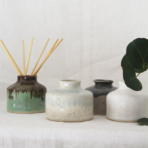 round ceramic handmade reed diffuser pot - french blue