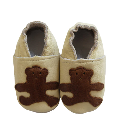soft sole baby leather shoes with teddy bear