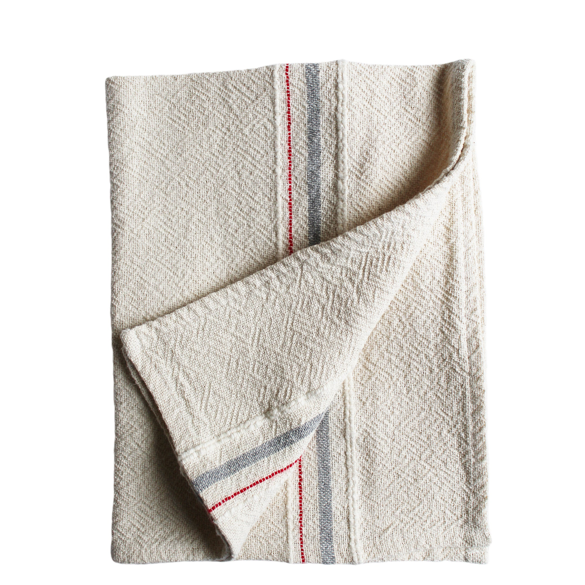 hand woven kitchen towel - grey with red stripe