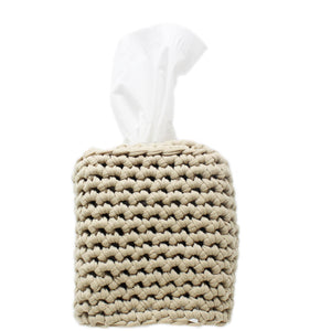 hand knitted tissue box cover - 100% cotton
