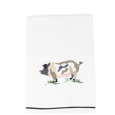 waffle weave kitchen towel - pig