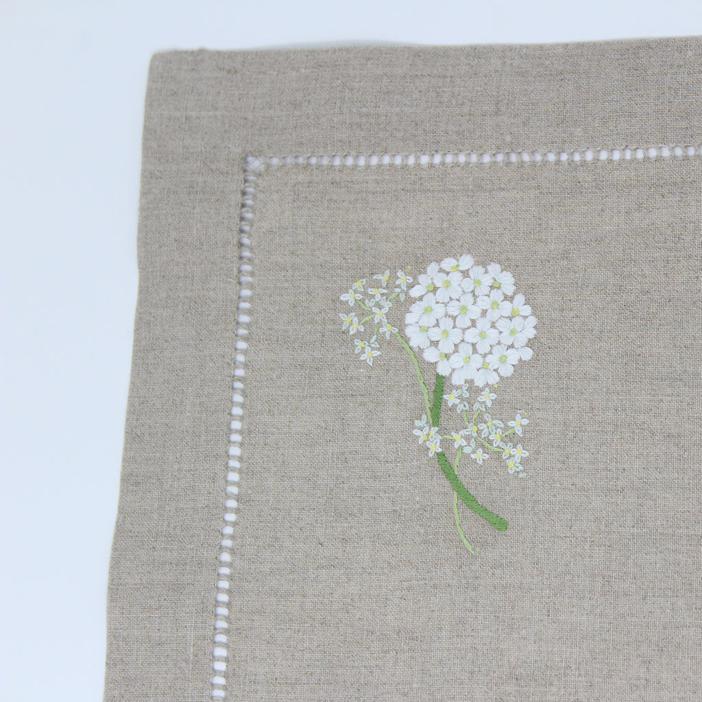 Hand Embroidered Linen Placemats Hydrangea Kimberly House