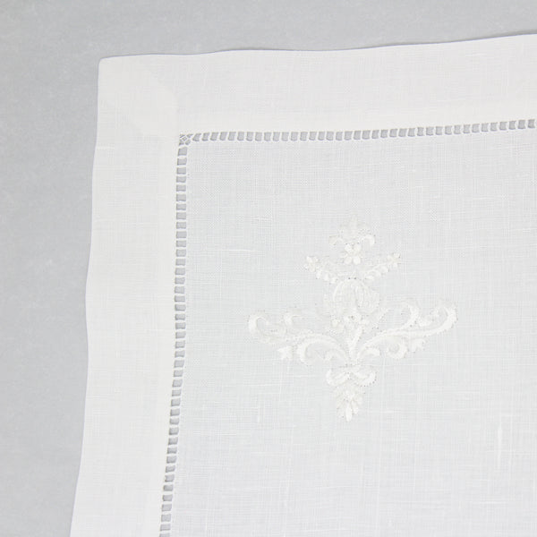 hand embroidered linen placemats - ornament design