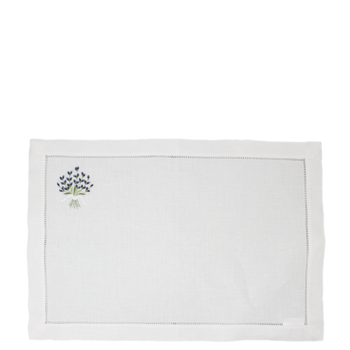 hand embroidered linen placemat - lavender design