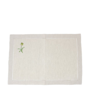 hand embroidered linen placemats - tulip design