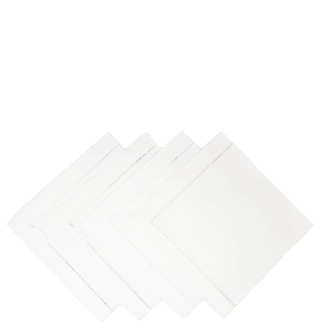 pure linen napkins - ladder stitch white