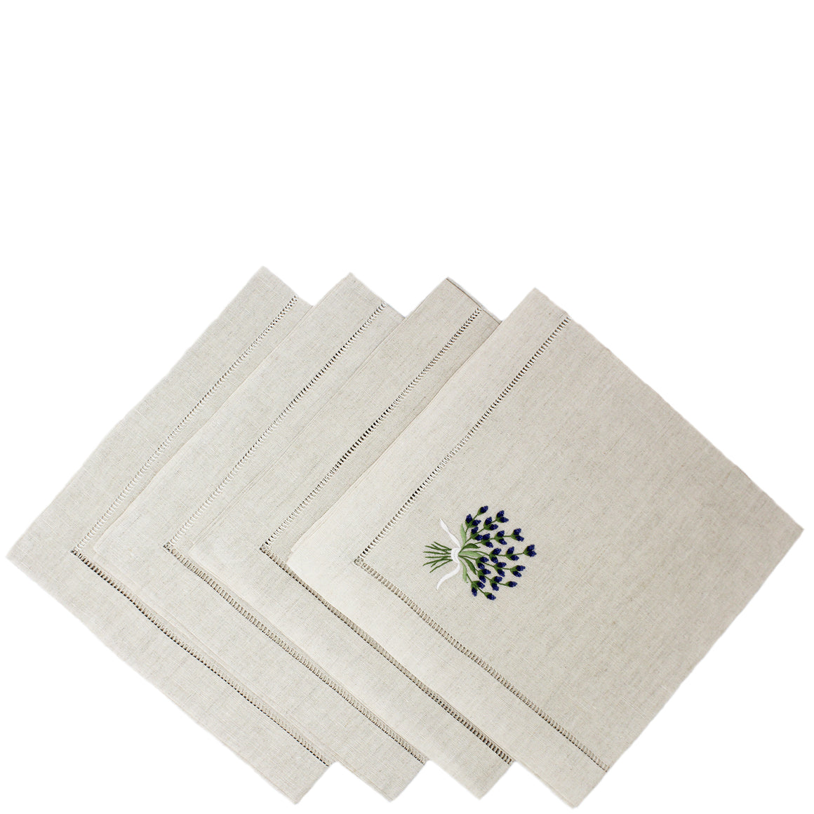 hand embroidered linen napkins - lavender design