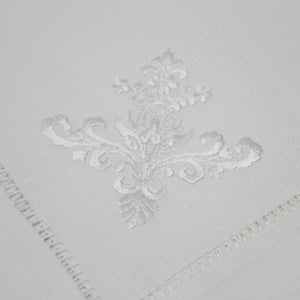 hand embroidered linen napkins - ornament design