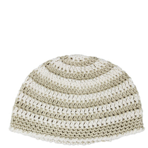 crocheted baby beanie - beige stripes