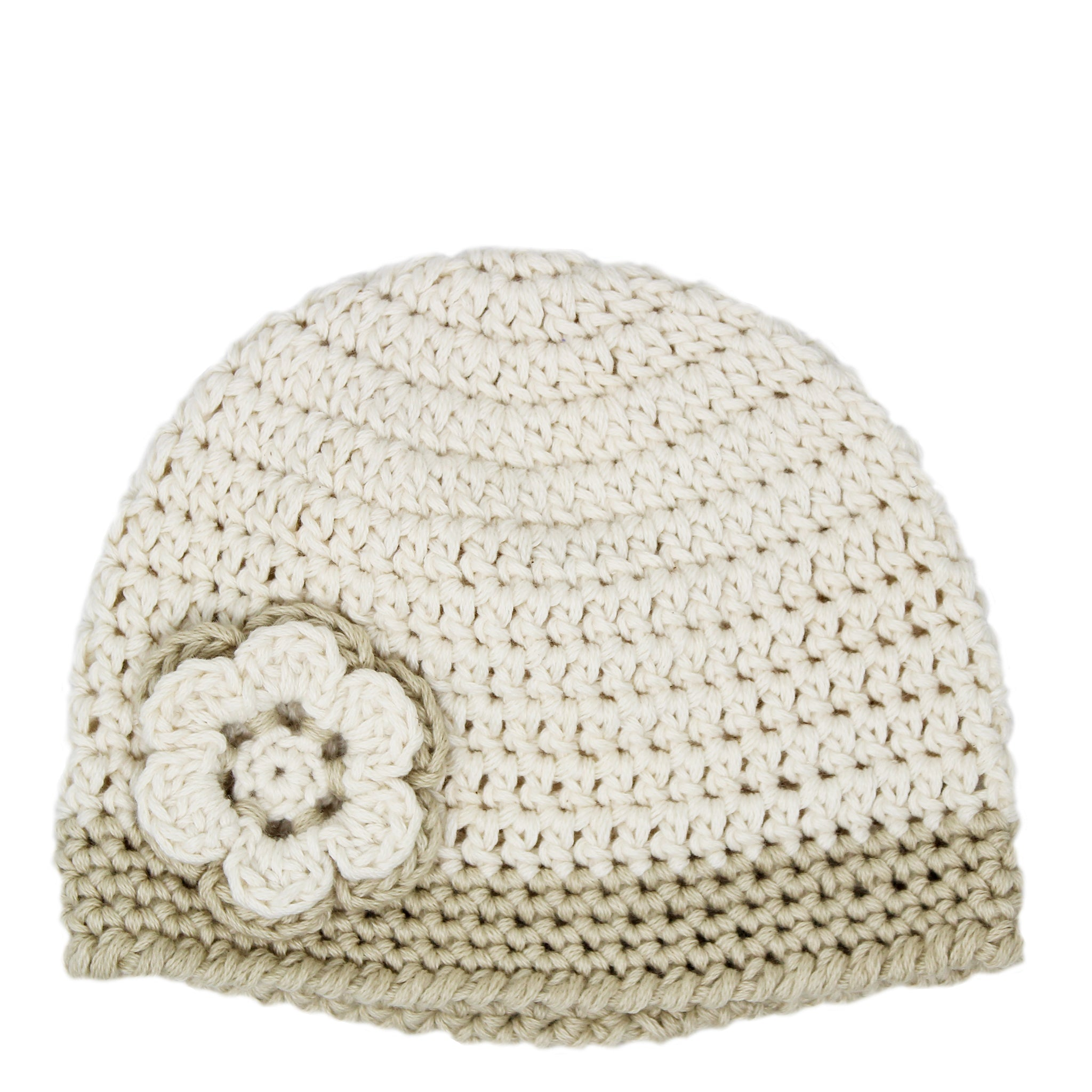 crocheted baby beanie - beige flower decoration