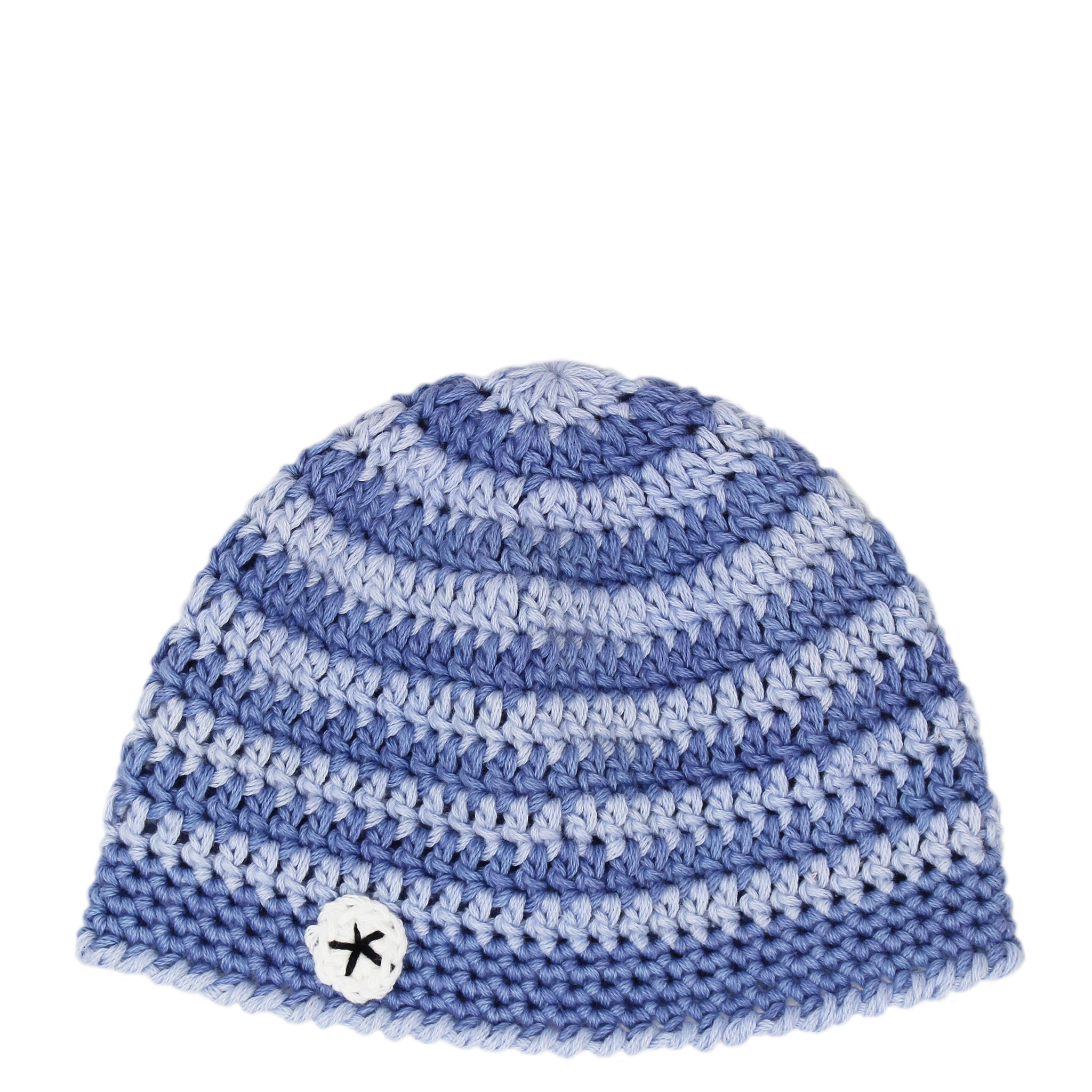 hand crocheted baby beanie - blue stripe