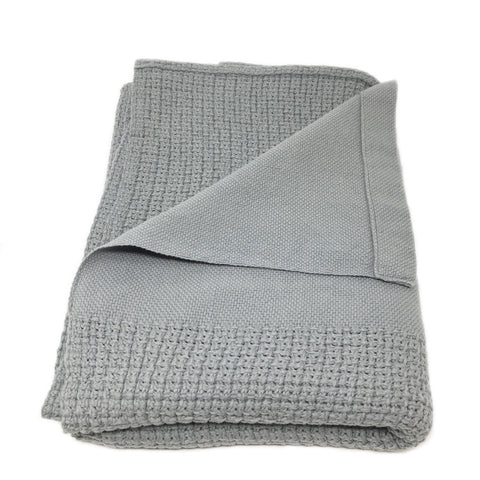 grey organic baby blanket handwoven with 100% cotton