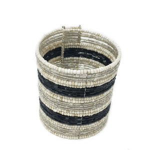 beaded cuff bracelet — black-silver-cream
