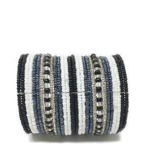 beaded cuff bracelet white /grey / black