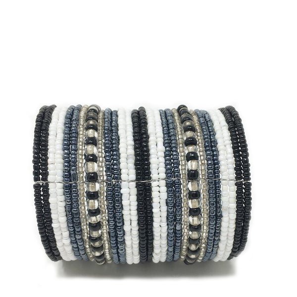 beaded cuff bracelet white / grey / black