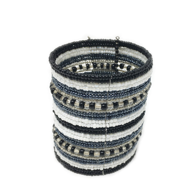 beaded cuff bracelet white / grey /black