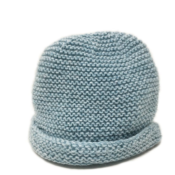 hand knitted baby beanie in soft blue