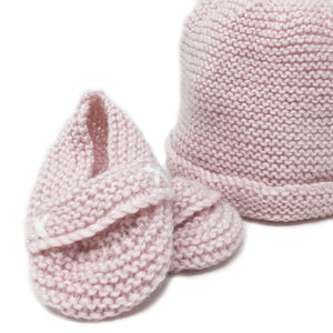 hand knitted baby beanie in soft pink