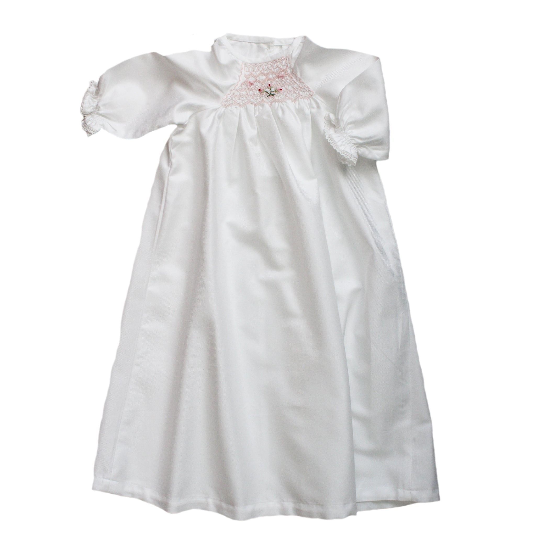 smocked baby gown with pink rosebuds