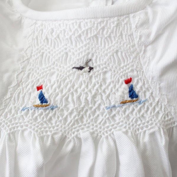 smocked baby gown embroidered nautical