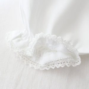 smocked baby gown white