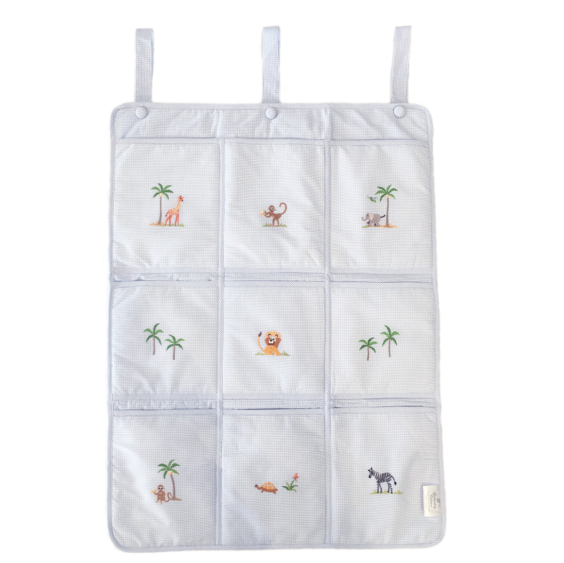 crib organizer on safari blue