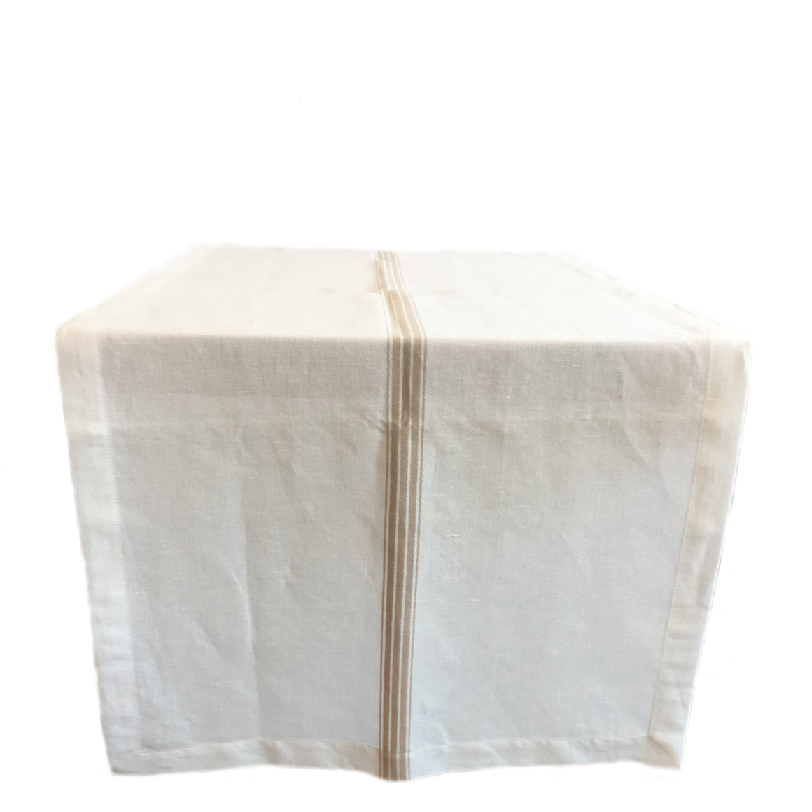 woven linen table runner - white and taupe