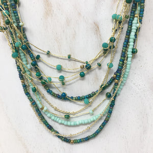 crystal & brass beaded necklace - teal