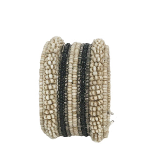 beaded cuff bracelet - cream, black and silver