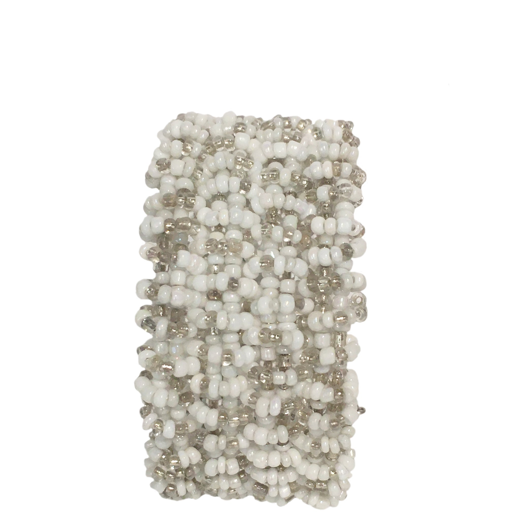 beaded cuff bracelet - white and grey