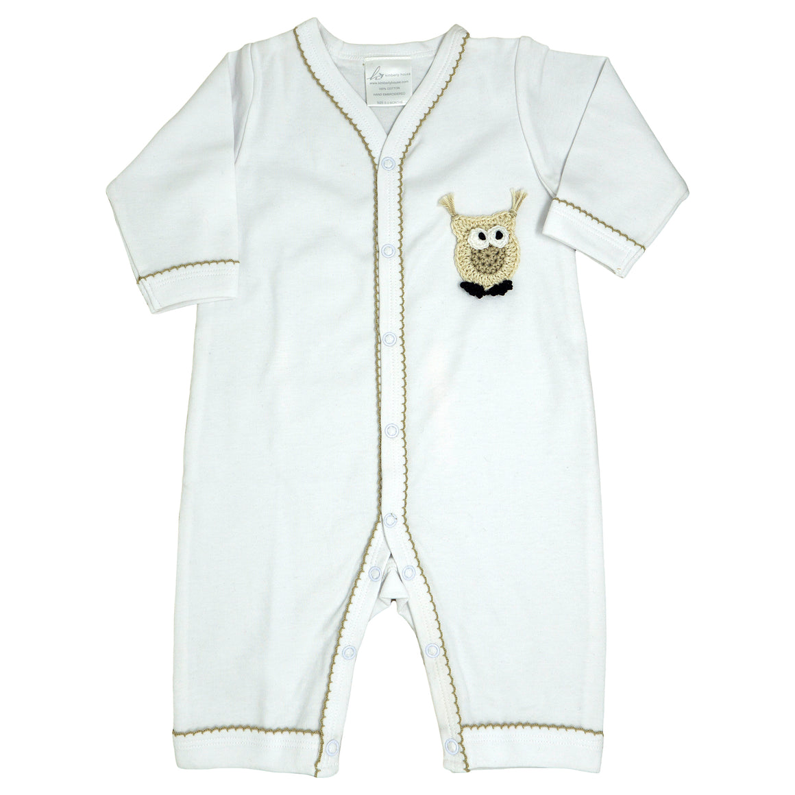 long body onesie with a beige crocheted owl