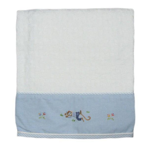 cotton baby blanket monkey biz with blue trim