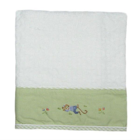 cotton baby blanket monkey biz green