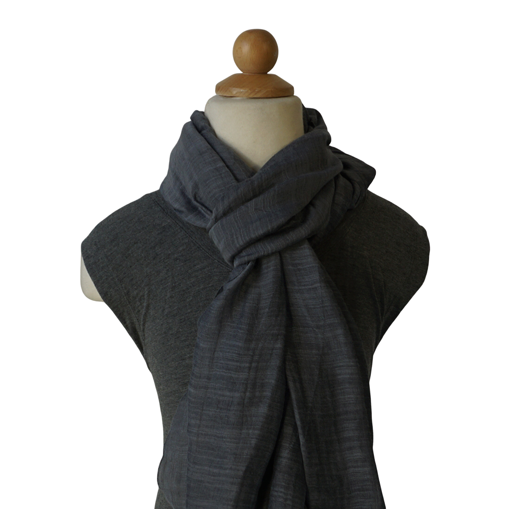 lightweight cotton & silk scarf - smoke